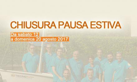 CHIUSURA PAUSA ESTIVA DAL 12 AL 20 AGOSTO