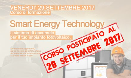 Corso di formazione Smart Energy Technology. Sistemi di accumulo per impianti fotovoltaici.