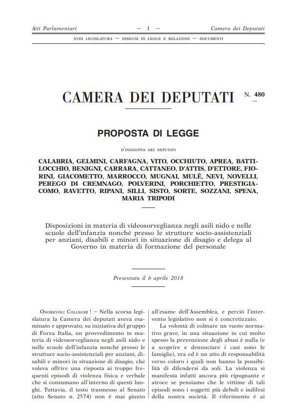 Videosorveglianza asili nido - proposta di legge