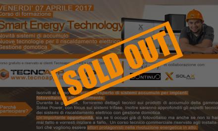 SOLD OUT! Iscrizioni chiuse per il corso Smart Energy TechnologyFebbraio 2019.