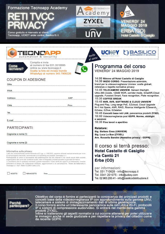 invito corso Videosorveglianza IP Reti Normative Privacy GDPR - Erba 24 Maggio 2019