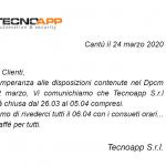 Comunicato di chiusura dal 26.03 al 05.04 compresi
