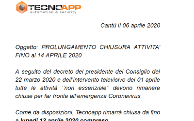 PROLUNGAMENTO CHIUSURA ATTIVITA' FINO al 14 APRILE 2020
